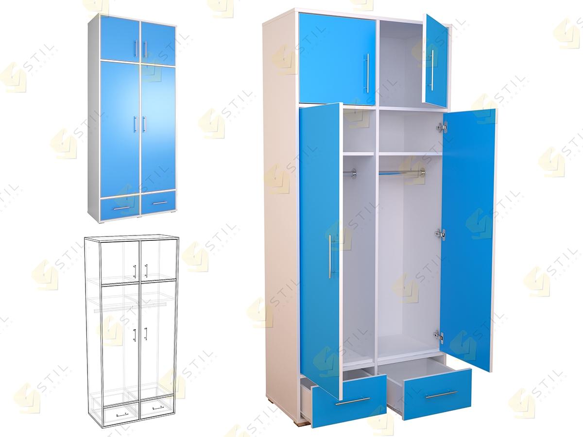 Двухдверный шкаф для детской Бэби Стиль Ш-3