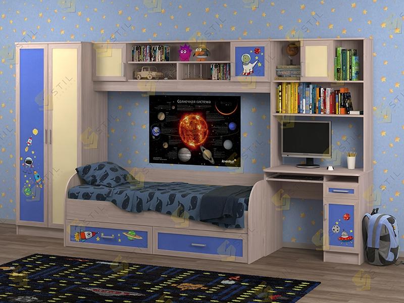 Недорогая мебель в детскую Белоснежка-1 рис.Космос