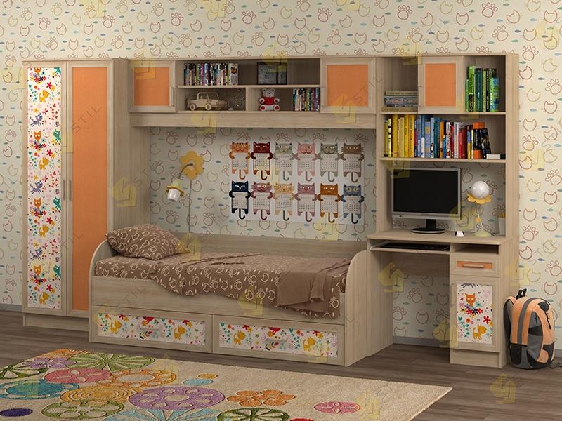 Недорогая мебель для детской Белоснежка-1 рис.Коты