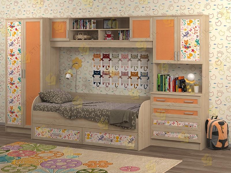 Недорогая мебель в детскую Белоснежка-5 рис.Коты