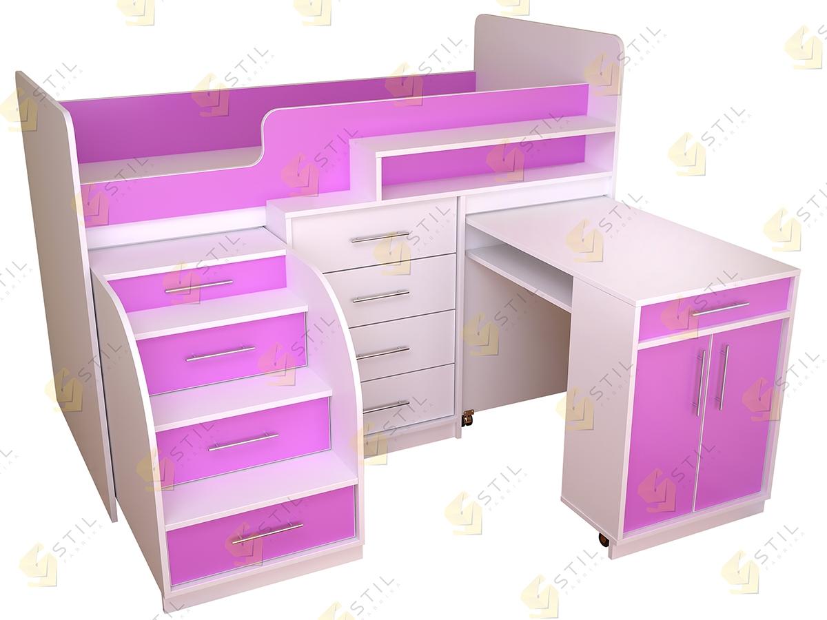 Недорогая кровать-чердак в детскую Бэби Стиль КЧ-5