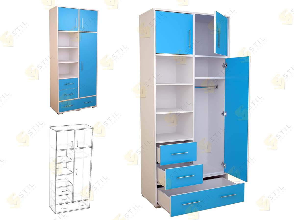 Недорогой шкаф в детскую для мальчика Бэби Стиль Ш-6