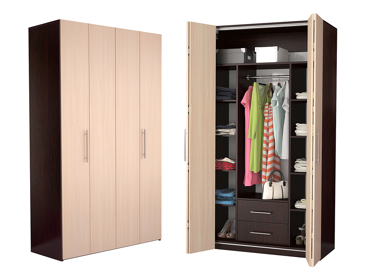Недорогой четырехдверный шкаф-гармошка Дегар Ч5