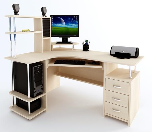 Угловой компьютерный стол с надстройкой Компас С-224