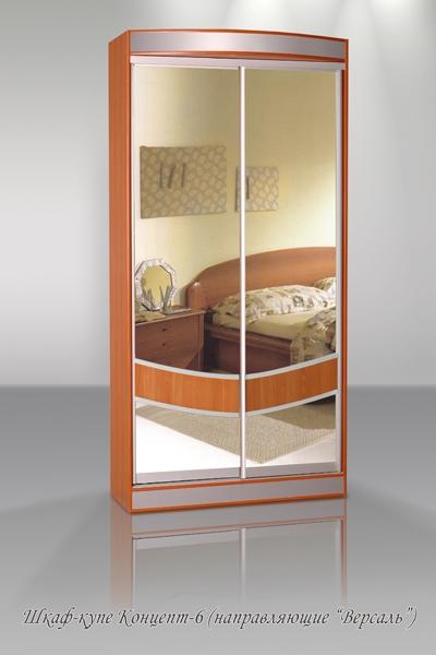 Недорогой двухдверный зеркальный шкаф-купе Концепт-6