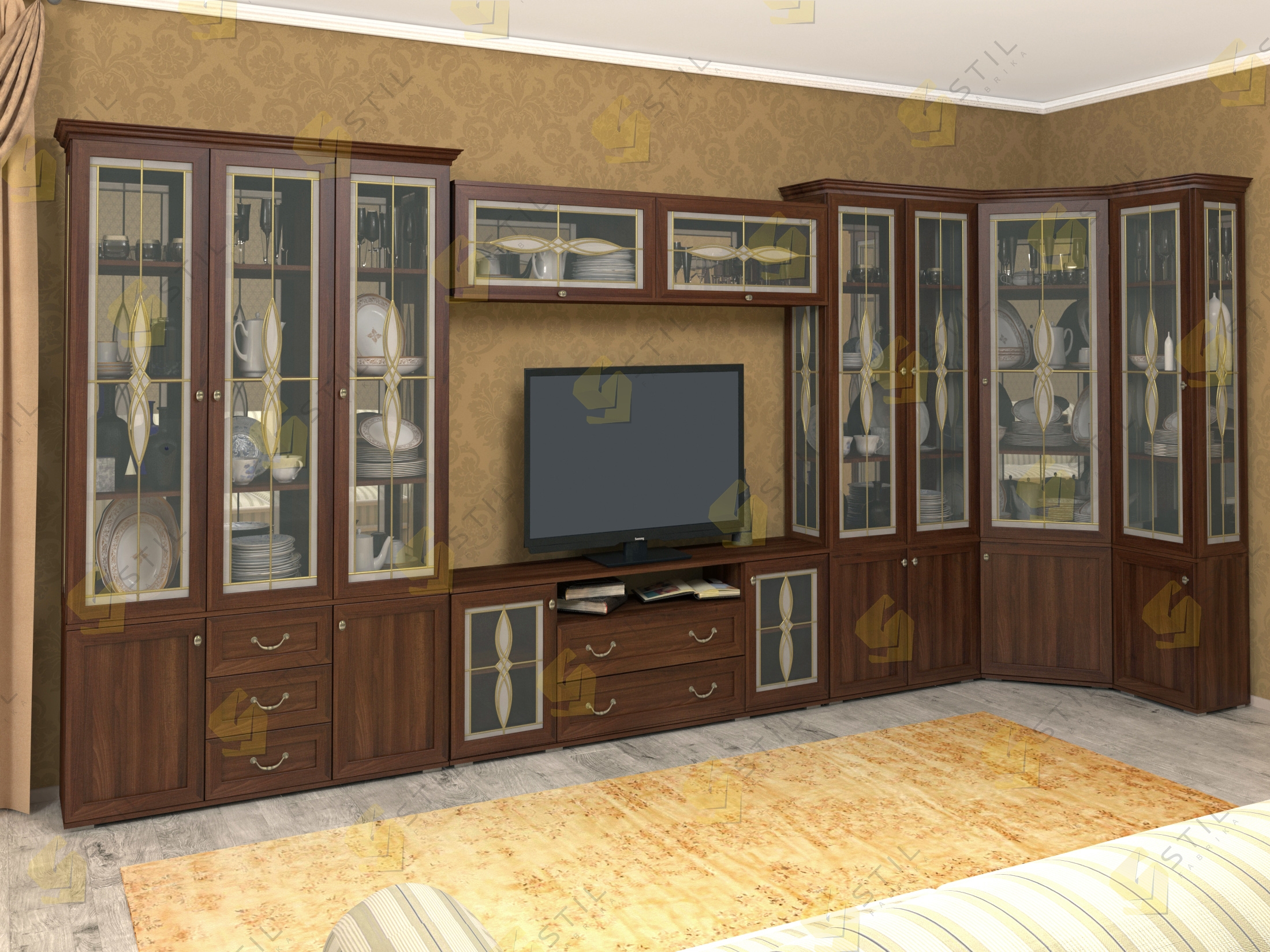 Модульная стенка для гостиной Витраж 21В