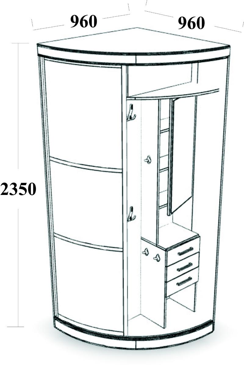 Угловой шкаф его размеры в зависимости от формы, чем отличаю.