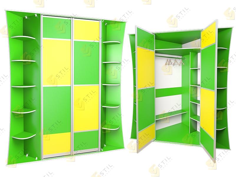 Угловой распашной шкаф в детскую Радуга У-2
