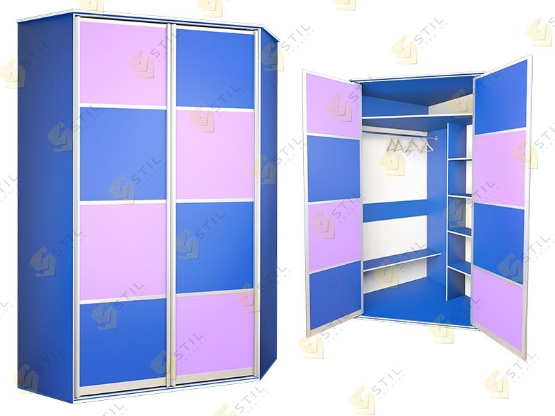 Угловой распашной шкаф в детскую Радуга У-4