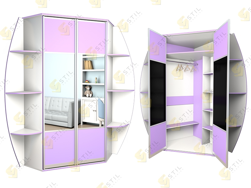 Угловой распашной шкаф в детскую Радуга У-6