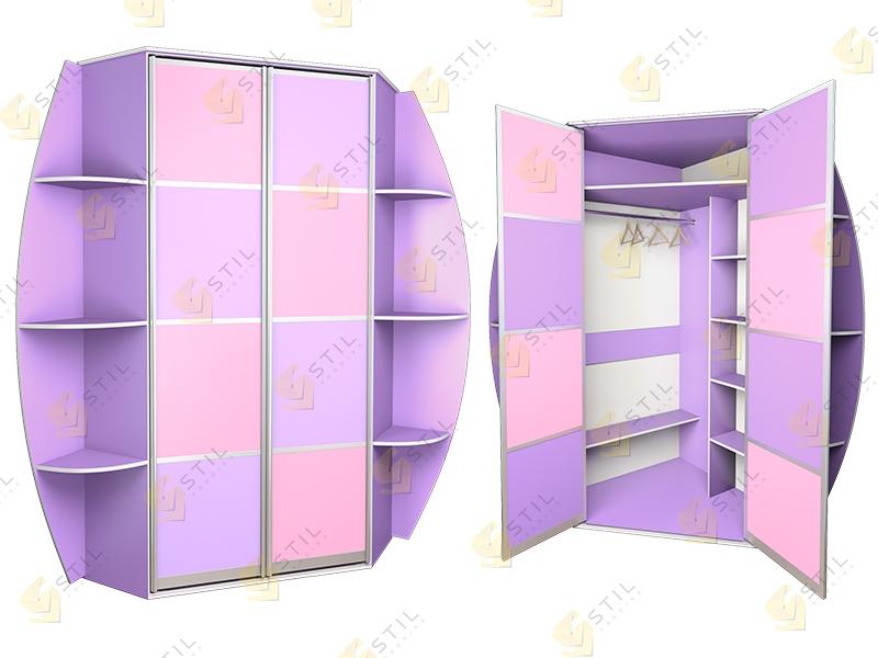 Угловой распашной шкаф в детскую Радуга У-9