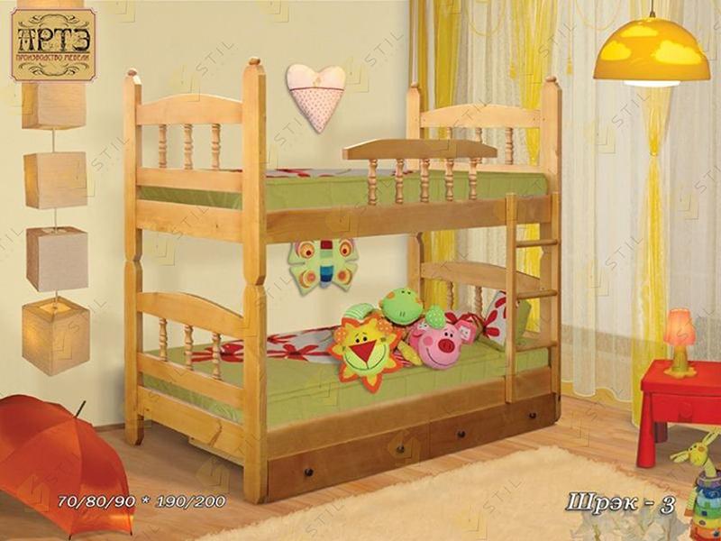 Двухъярусная детская кровать из массива Шрек-3