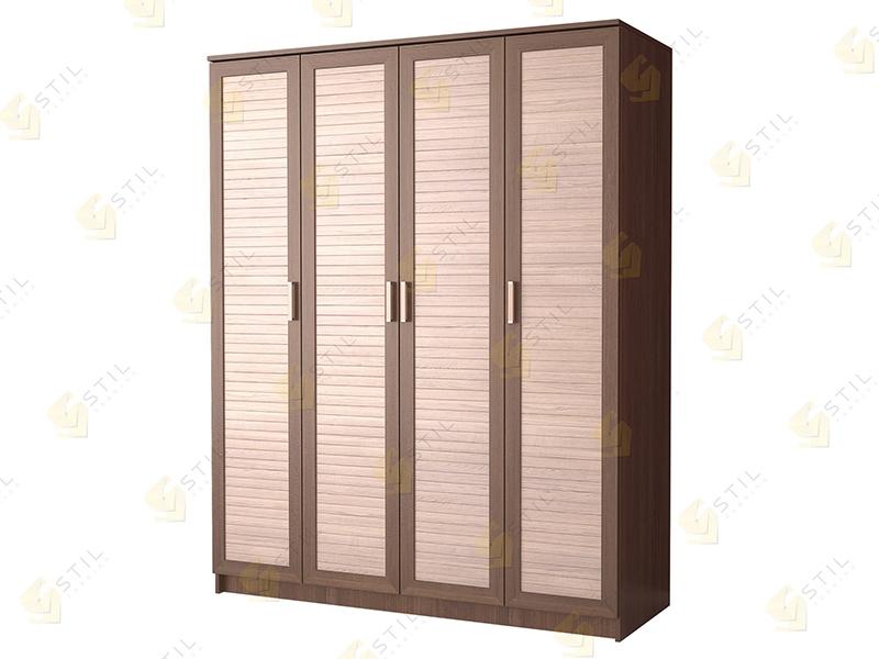 Недорогой четырехдверный шкаф с реечными фасадами Стиль Ч-1Р