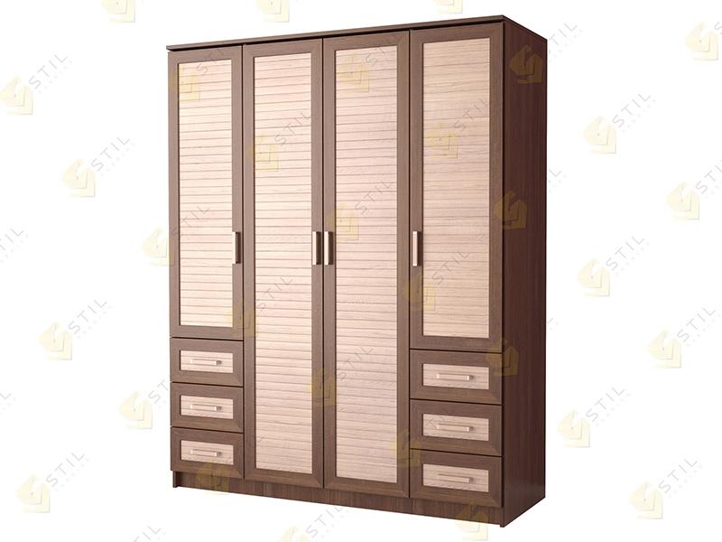 Недорогой четырехдверный шкаф с реечными фасадами Стиль Ч-3Р