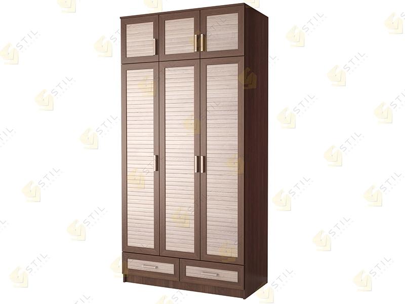 Недорогой трехдверный шкаф с реечными фасадами Стиль Т-13Р