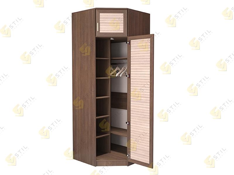Недорогой угловой шкаф с реечными фасадами Стиль У-11Р