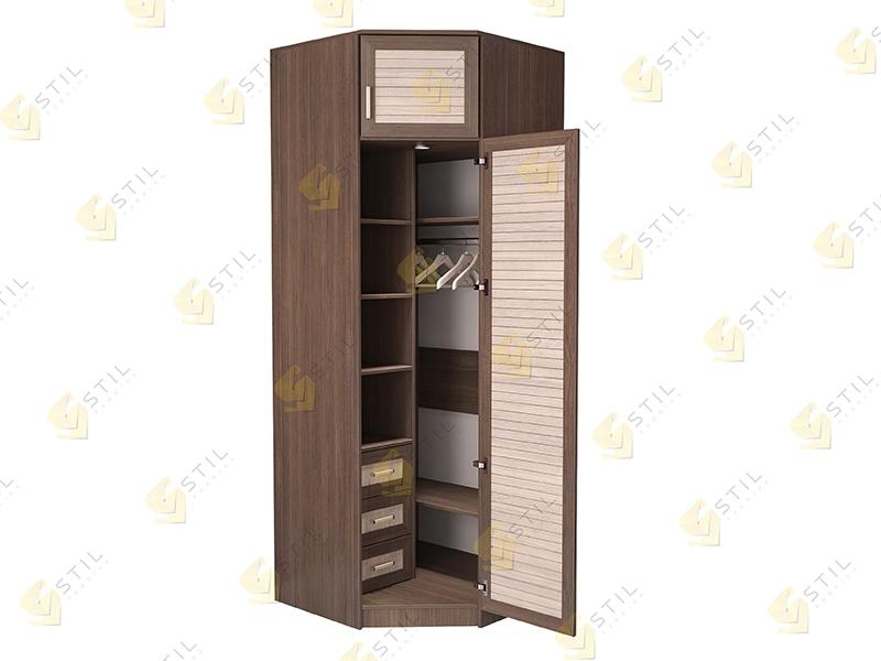 Недорогой угловой шкаф с реечными фасадами Стиль У-12Р