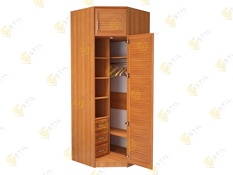 Угловой шкаф с жалюзийными фасадами Стиль У-12Ж