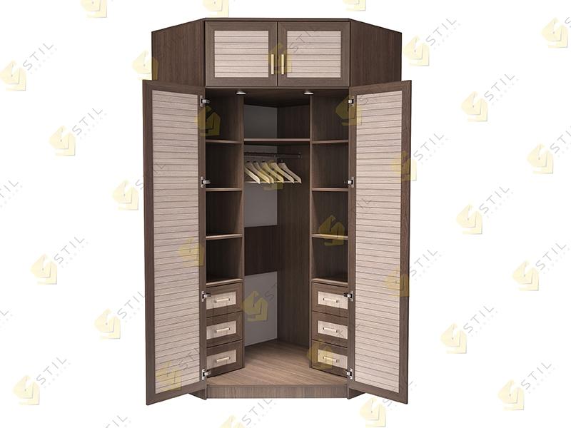 Недорогой угловой шкаф с реечными фасадами Стиль У-13Р