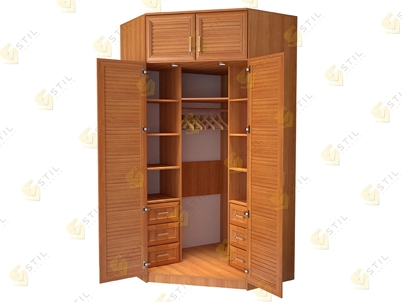 Угловой шкаф с жалюзийными фасадами для прихожей Стиль У-13Ж