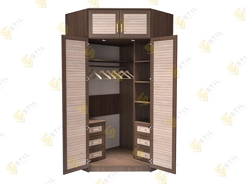 Недорогой угловой шкаф с реечными фасадами Стиль-14Р