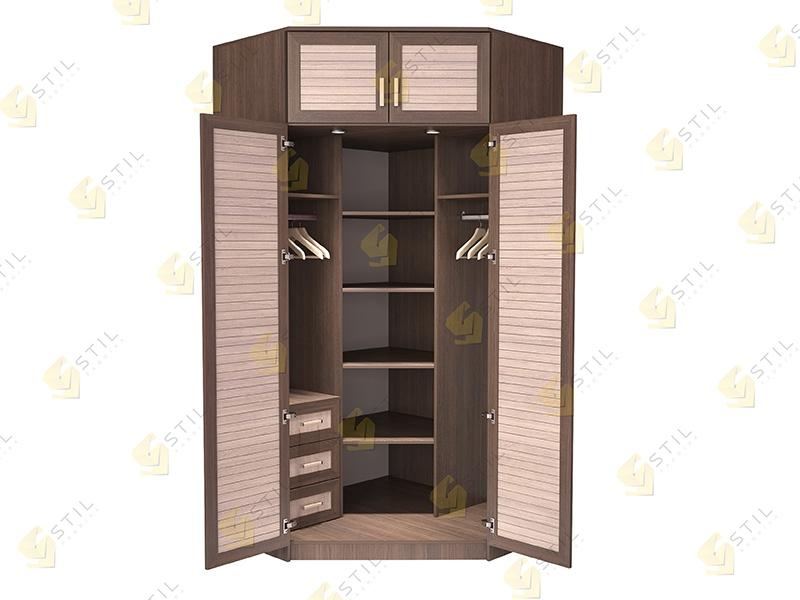 Недорогой угловой шкаф с реечными фасадами Стиль У-15Р