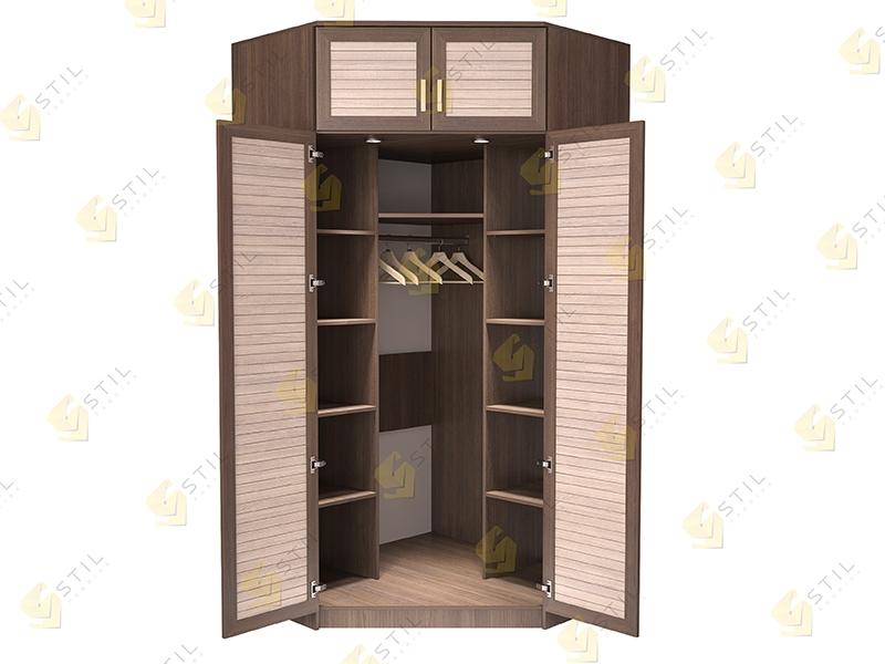 Недорогой угловой шкаф с реечными фасадами Стиль У-16Р