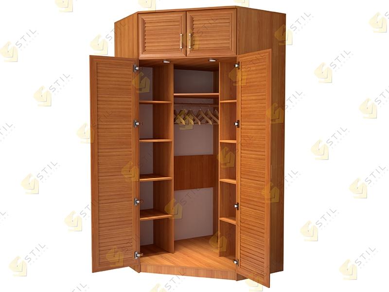 Угловой шкаф для спальни с реечными фасадами Стиль У-16Ж