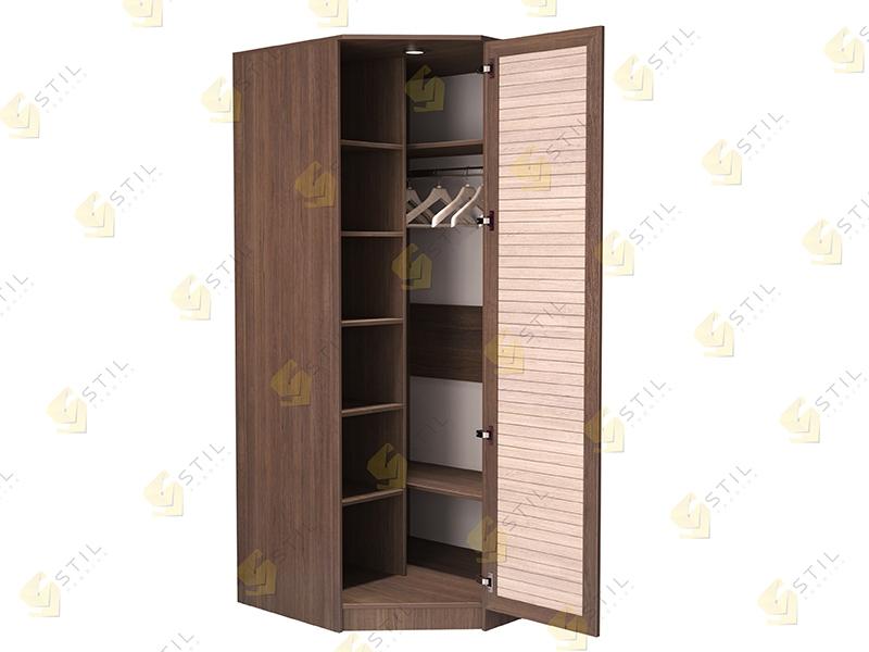 Недорогой угловой шкаф с реечными фасадами Стиль У-1Р
