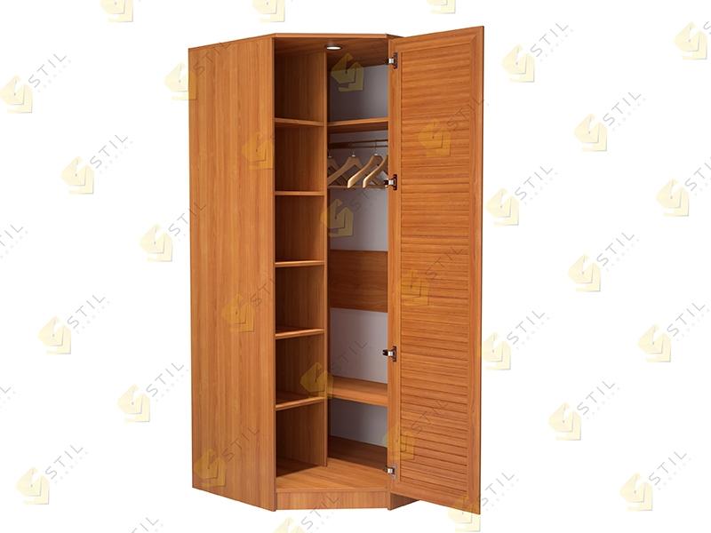 Угловой шкаф с жалюзийными фасадами для прихожей Стиль У-1Ж