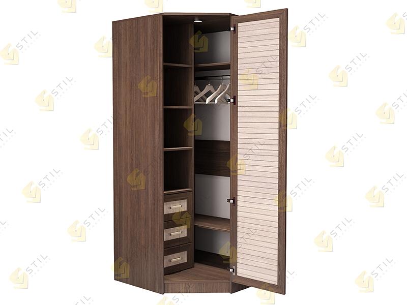 Недорогой угловой шкаф с реечными фасадами Стиль У-2Р