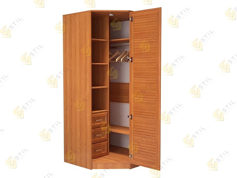Угловой шкаф с жалюзийными фасадами для спальни Стиль У-2Ж