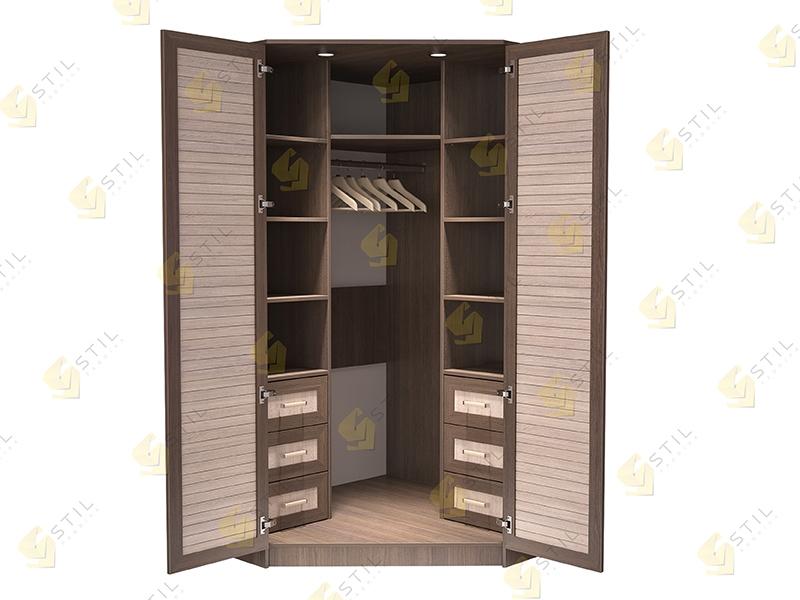 Недорогой угловой шкаф с реечными фасадами Стиль У-3Р