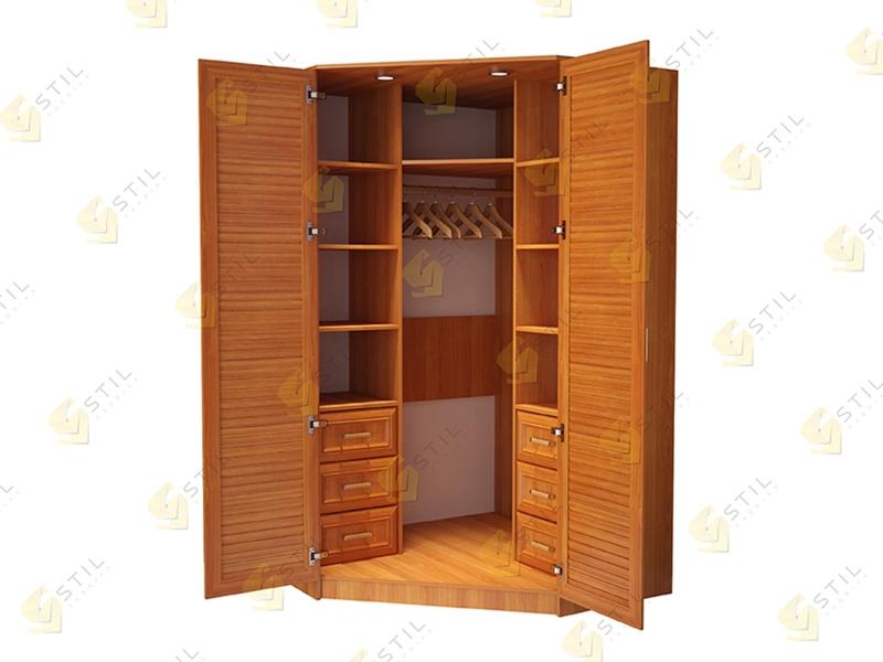 Угловой шкаф с жалюзийными фасадами для спальни Стиль У-3Ж