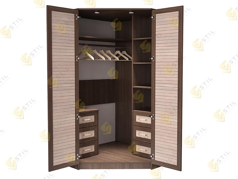Недорогой угловой шкаф с реечными фасадами Стиль У-4Р