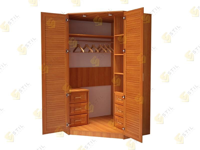 Угловой шкаф для спальни с жалюзийными фасадами Стиль У-4Ж