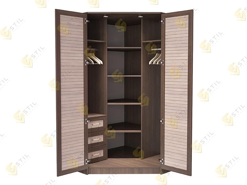 Недорогой угловой шкаф с реечными фасадами Стиль У-5Р