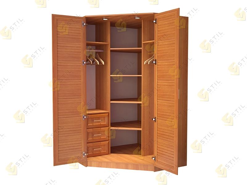 Угловой шкаф для прихожей Стиль У-5Ж с жалюзийными фасадами