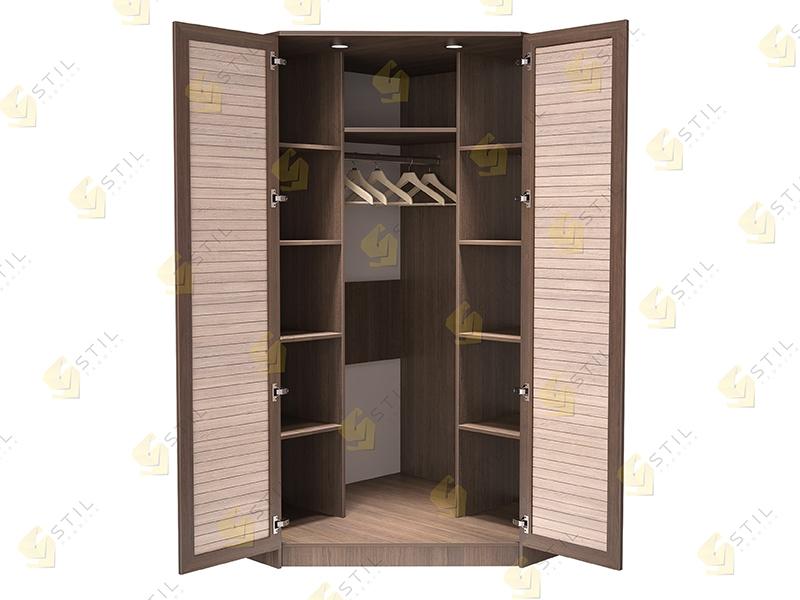 Недорогой угловой шкаф с реечными фасадами Стиль У-6Р