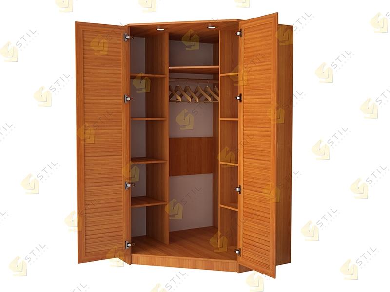 Недорогой угловой шкаф с жалюзийными фасадами Стиль-6Ж