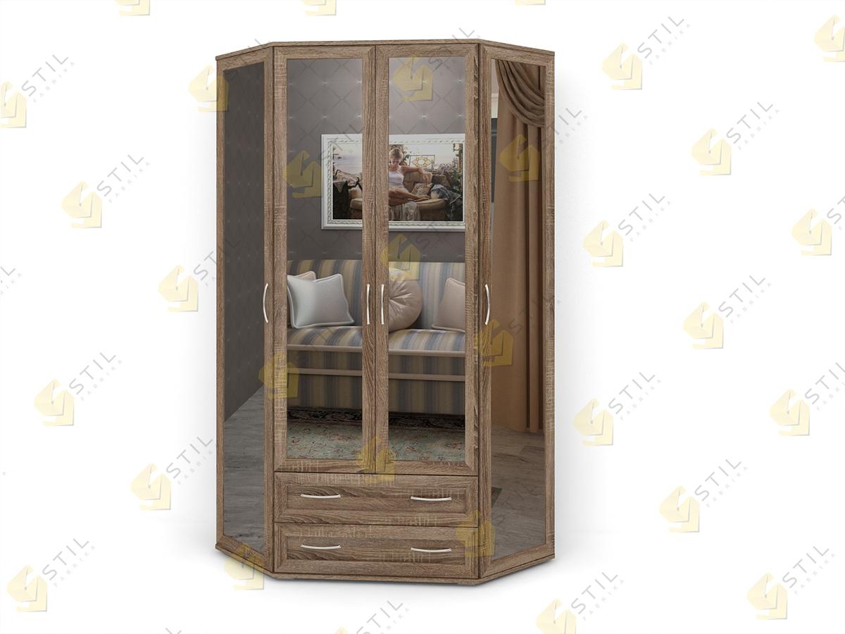 Распашной эркерный шкаф с зеркалами Э-1МЗ