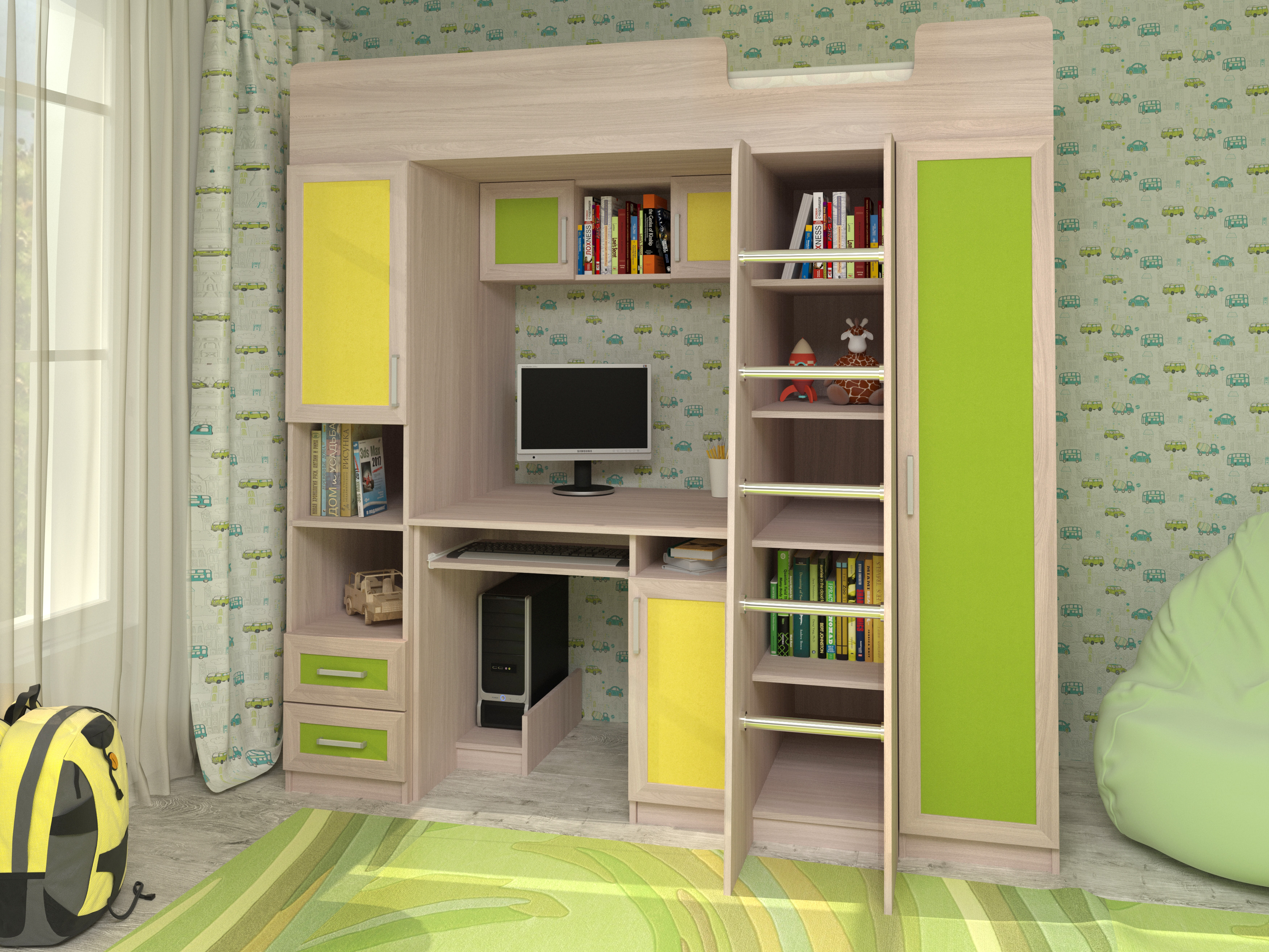 Недорогая мебель в детскую для мальчика Карлсон-2