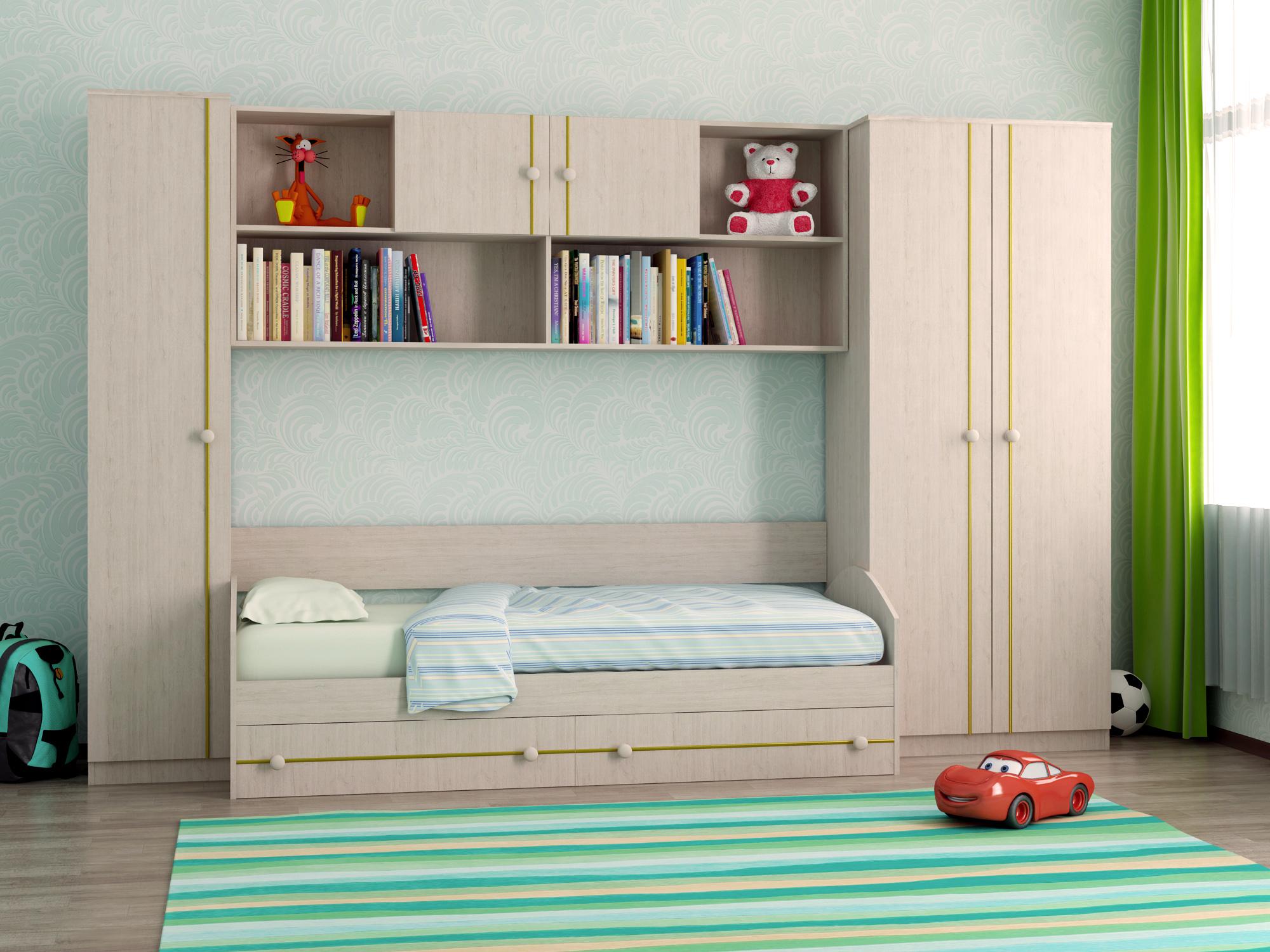 Недорогая мебель с кроватью для подростка Отличник 2+1