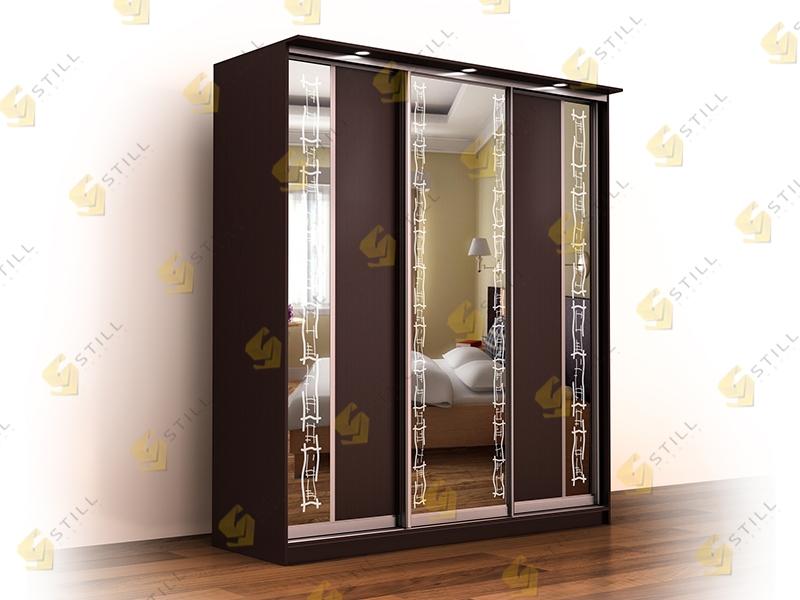 Недорогой трехдверный шкаф с пескоструйным рисунком Лагуна-4