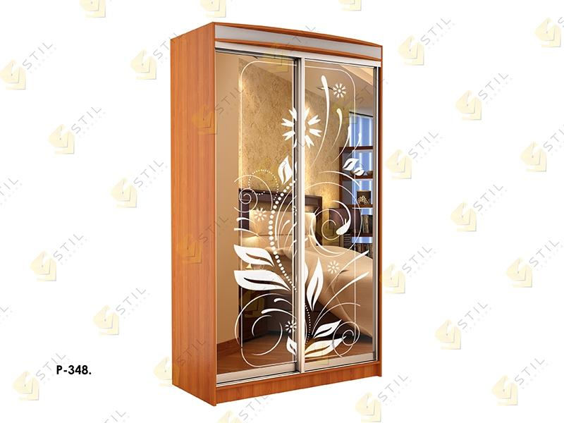 Недорогой двухдверный шкаф-купе с пескоструйным рисунком Стиль-1 Р348