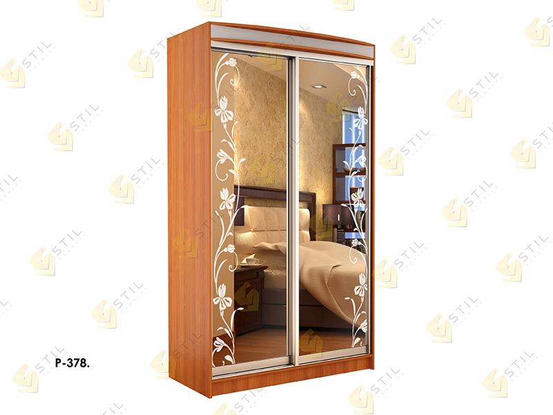 Недорогой двухдверный шкаф-купе с пескоструйным рисунком Стиль-1 Р378