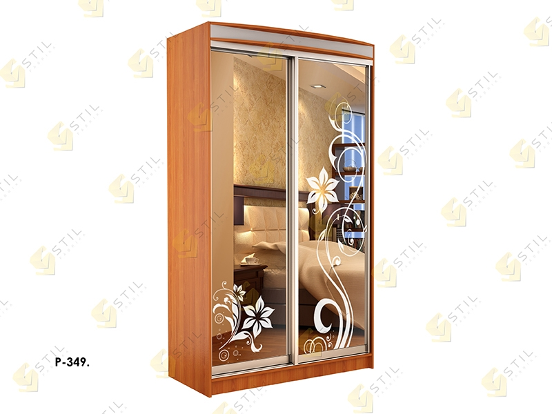 Недорогой двухдверный шкаф-купе с пескоструйным рисунком Стиль-1 Р349