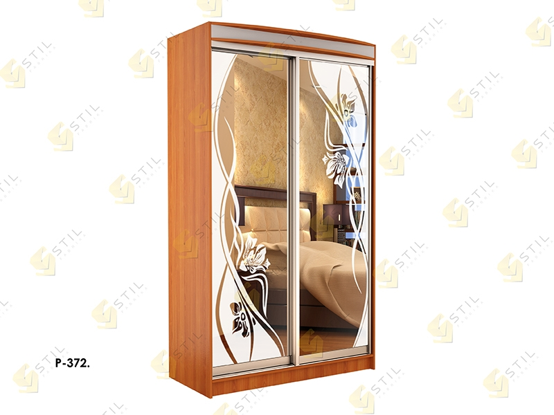 Недорогой двухдверный шкаф-купе с пескоструйным рисунком Стиль-1 Р372