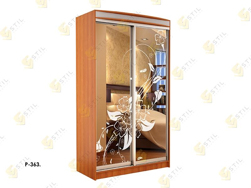 Недорогой двухдверный шкаф-купе с пескоструйным рисунком Стиль-1 Р363